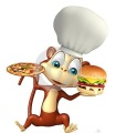 monkey-cartoon-character-pizza-burger-chef-hat-d-rendered-illustration-71855868